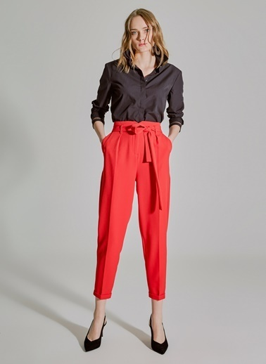 People By Fabrika Bağlama Detaylı Pantolon Kırmızı